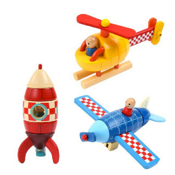 x001 Wooden Magnetic removable Assembly Helicopter Fighter Rocket baby learning plan education toys for younger kids hot(China (Mainland))