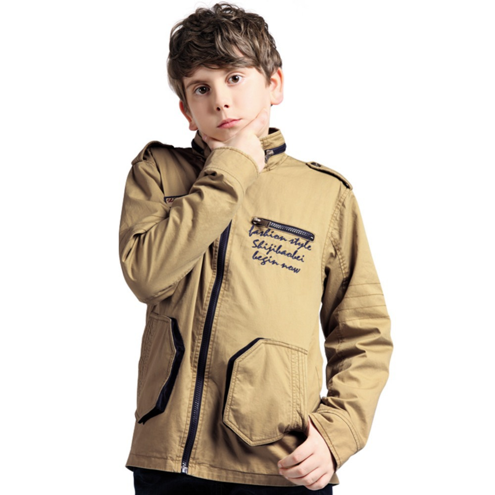 Hot Sale Outdoor Fashion Children Outerwear Coats [ Green Khaki ] Military Style Boys Casual Jackets Cotton Parkas Free Shipping(China (Mainland))