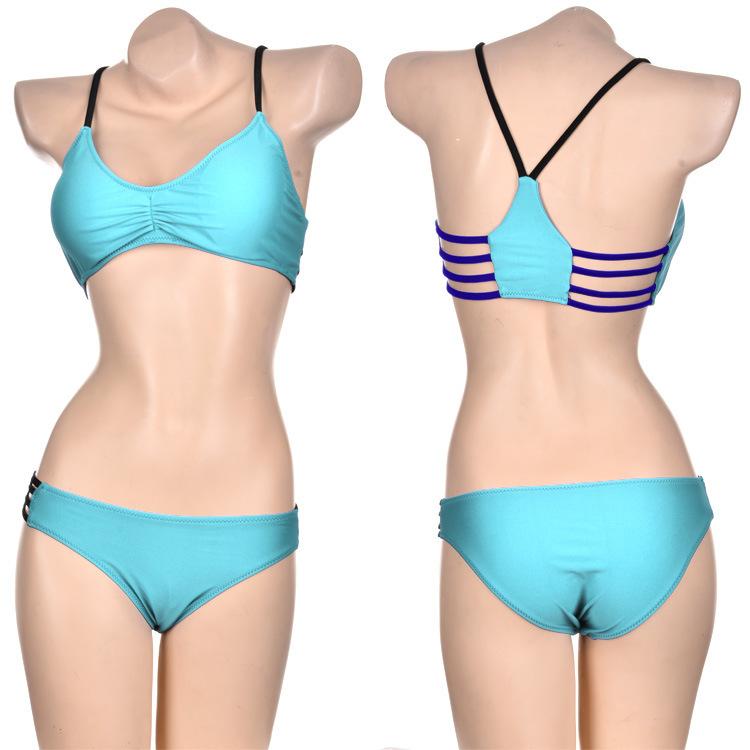 free shipping bandage bathing suit small bottom with striped bikini top women lycra Swimsuit Swimwear Sexy Mini String Thong(China (Mainland))