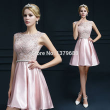 2016 new design mini short dresses elegant cocktail party appliques V-opening scoop neck party dress free shipping(China (Mainland))