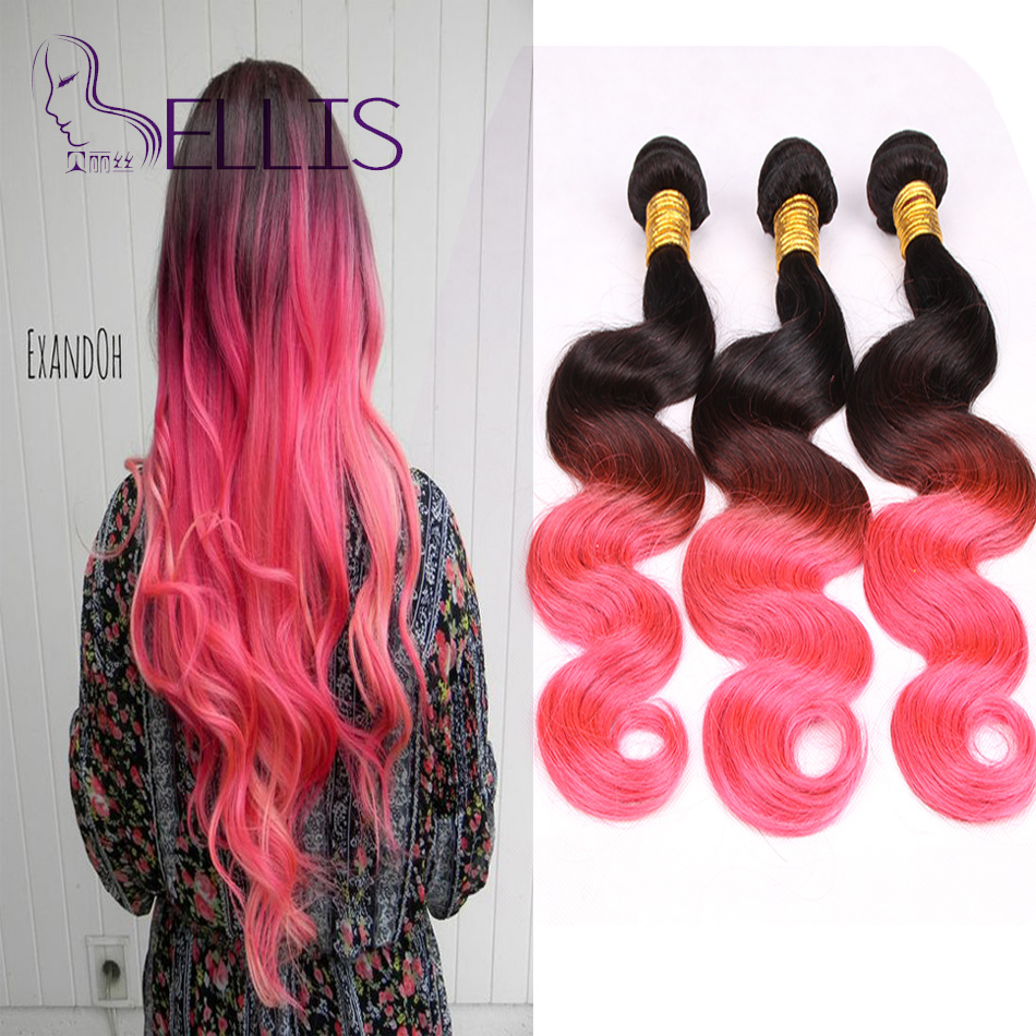 1B/Pink Ombre Malaysian Hair Weave Queen Hair Products Ombre Malaysian Virgin Hair Body Wave 3 Bundles Ombre Human Hair(China (Mainland))