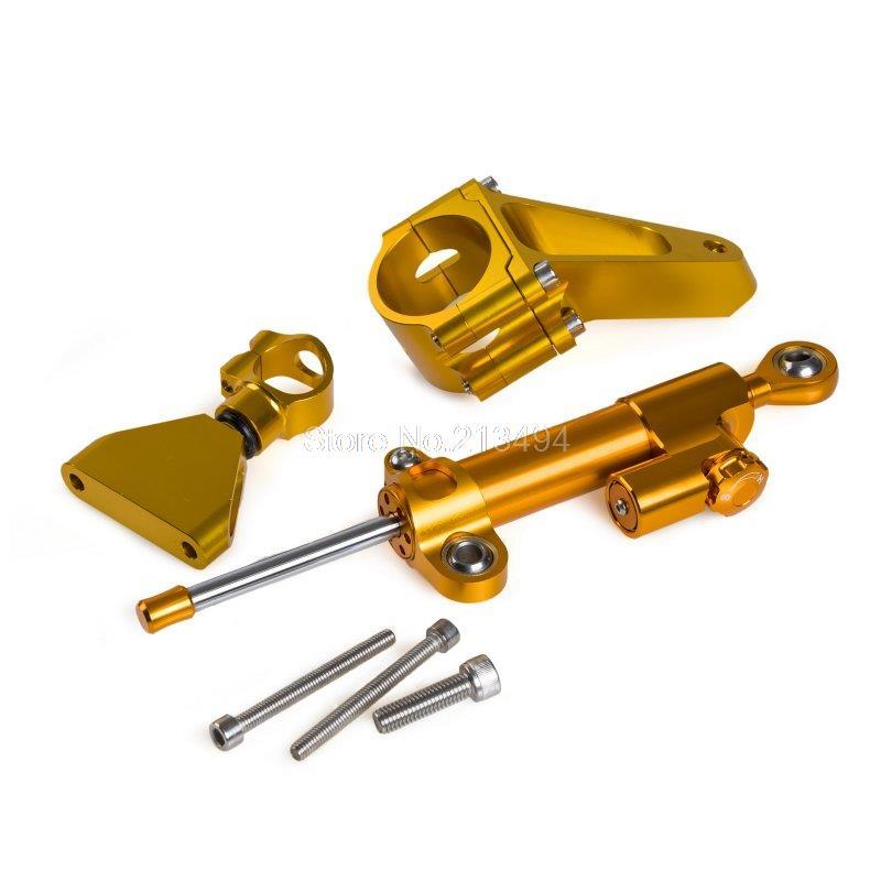 2015 New Adjustable Steering Damper & Mounting Kit For Honda CBR600 F4i 2001-2007 Gold