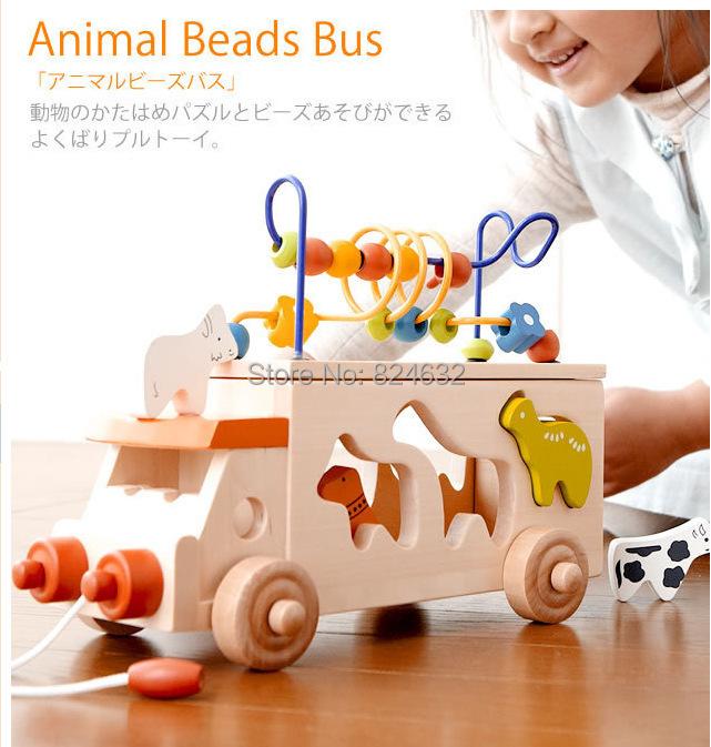 Baby Wood Toys Animal Beads Bus Baby Educational Animal Blocks Around The Beads Toy Building Blocks toys for children(China (Mainland))
