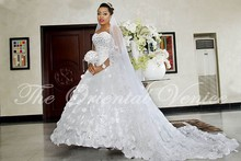 Nigerian Ball Gown African Wedding Dress Plus Size Sweetheart Crystal 3D Floras Flower Appliques Wedding Gowns Bridal Dress A69(China (Mainland))