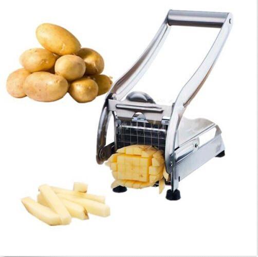 Gloednieuwe rvs franse home fry frieten chips strook snijden cutter machine maker slicer chopper dicer + 2 blades(China (Mainland))