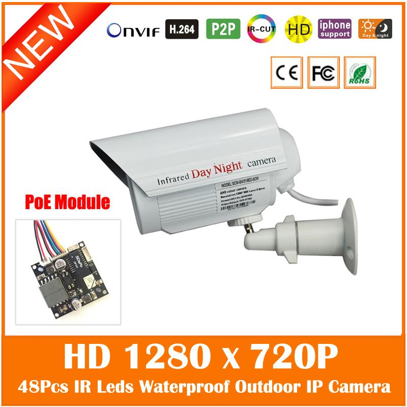 1.0MP HD 1280*720P Mini Bullet PoE IP Camera Motion Detect Outdoor/Indoor Waterproof Security Network Camera H.264 Onvif White(China (Mainland))