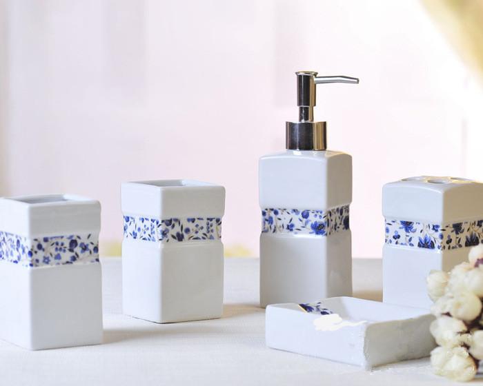 Newly 5 pcs Ceramic Sanitary Bathroom Accessories Hand Soap Toothbrush holder dispenser Bath Set(China (Mainland))