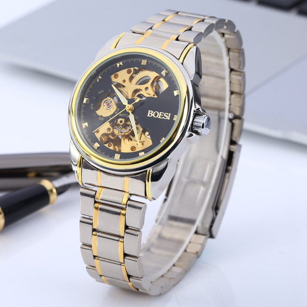 BOSCK 668 Double-sided Hollow-out Stainless Steel Band Automatic Mechanical Men Watch<br><br>Aliexpress