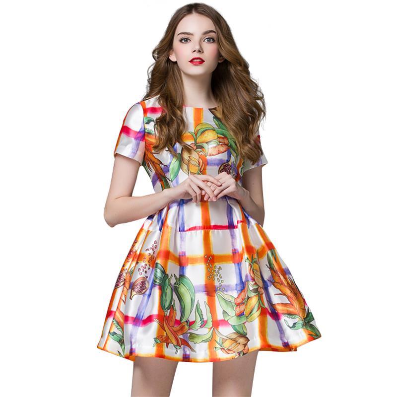 Women Summer Colorful Plaid Print Dresses 2016 New Spring New Fashion O-Neck Short Sleeve Mini A-Line Dress Vestidos