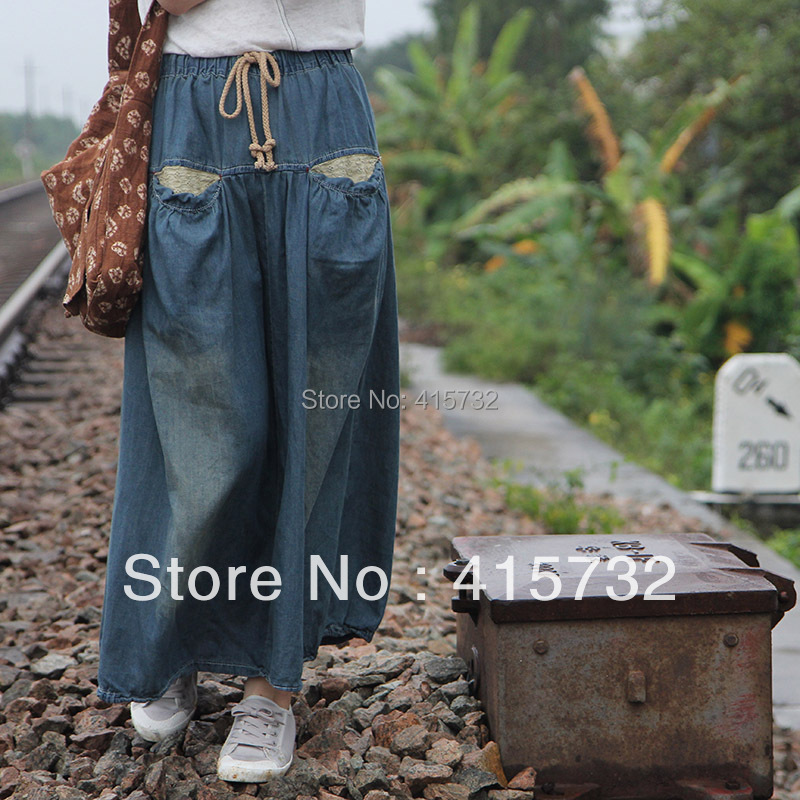 Free Shipping 2014 New Vintage Denim Water Wash Fake Pocket Summer Thin Mid-calf Skirts For Women Lace Decoration Elastic Waist