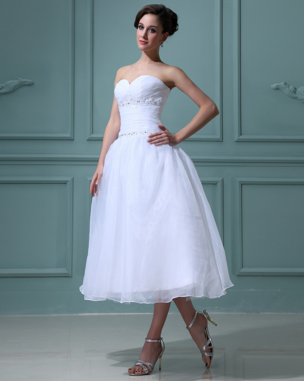 A line sweetheart sleeveless natural none tea length short for Short white summer wedding dresses