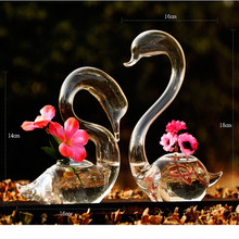 Love Swan flower vases home decoration flower pots planters wedding decoration vasos party gifts hot sale glass crafts(China (Mainland))