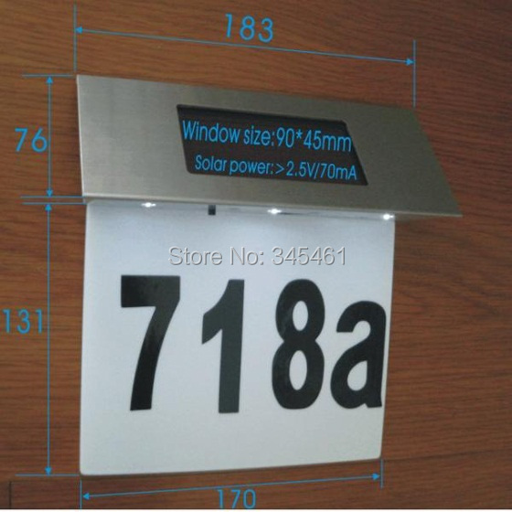 2X Door/Wall 4Leds Doorplate Plaque Light High Bright indicator lamp Solar Number Plate Lights Ss steel+ABS House Number lampada(China (Mainland))