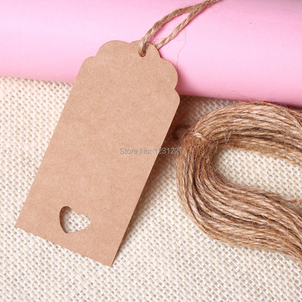 Rectangle and Circle Shape Design 50 PCs Brown Kraft Paper Hang Tags Wedding Party Favor Punch Label Price Gift Cards(China (Mainland))