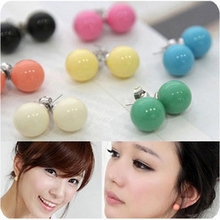 13 Colors 2016 New Fashion Lovely Colors Alloy Candy Statement Ball Stud Earrings Jewelry Accessories