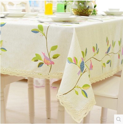 Bird Printed White Table Cloth Toalhas De Mesa Table Linen Tovaglia Table Overlays For Weddings Table Covers Home Textile(China (Mainland))