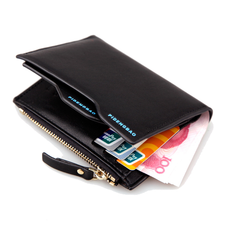 2016 Hot Fashion Men Short Wallets Bifold Clutch Wallet ID Card Holder Coin Purse Pocket With Zipper Coin Bag Gift Free Shipping(China (Mainland))