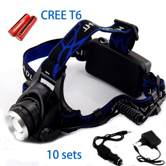 10 Sets/Lot Wholesale Headlamp Head Torch Zoomable Led Head Lamp Light Torch Flashlight Cree T6 2000Lm Headlight  For Hunting<br><br>Aliexpress