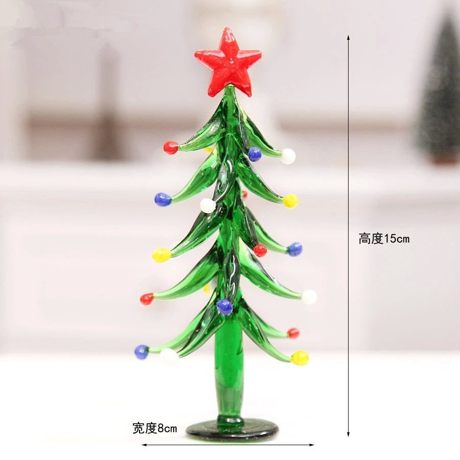 Glass stained transparent Christmas tree 2016 New 15x8cm grade For Christmas Party Use(China (Mainland))