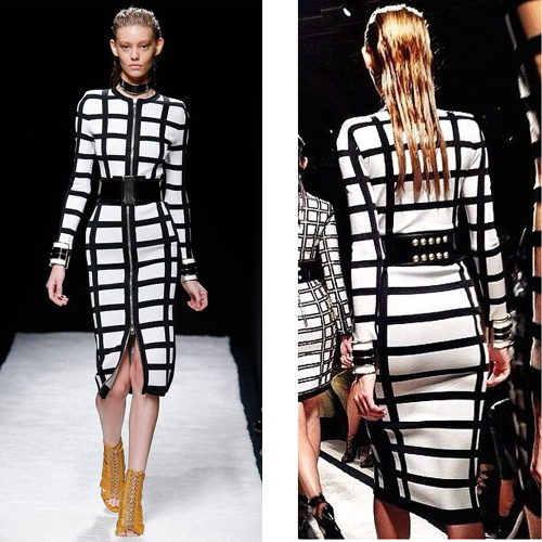 2015 sexy women dress new girl long sleeve knitted rayon front zipper white black plaid noble luxury knee-length bandage dress