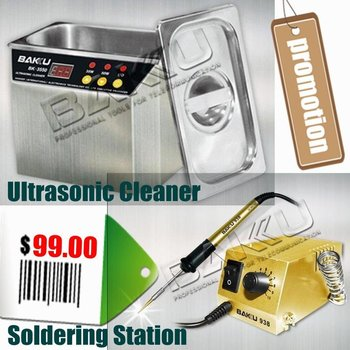 Hotsale Products Combination: Stainless Steel Ultrasonic Cleaner + Soldering Station for Electronic Appliance.