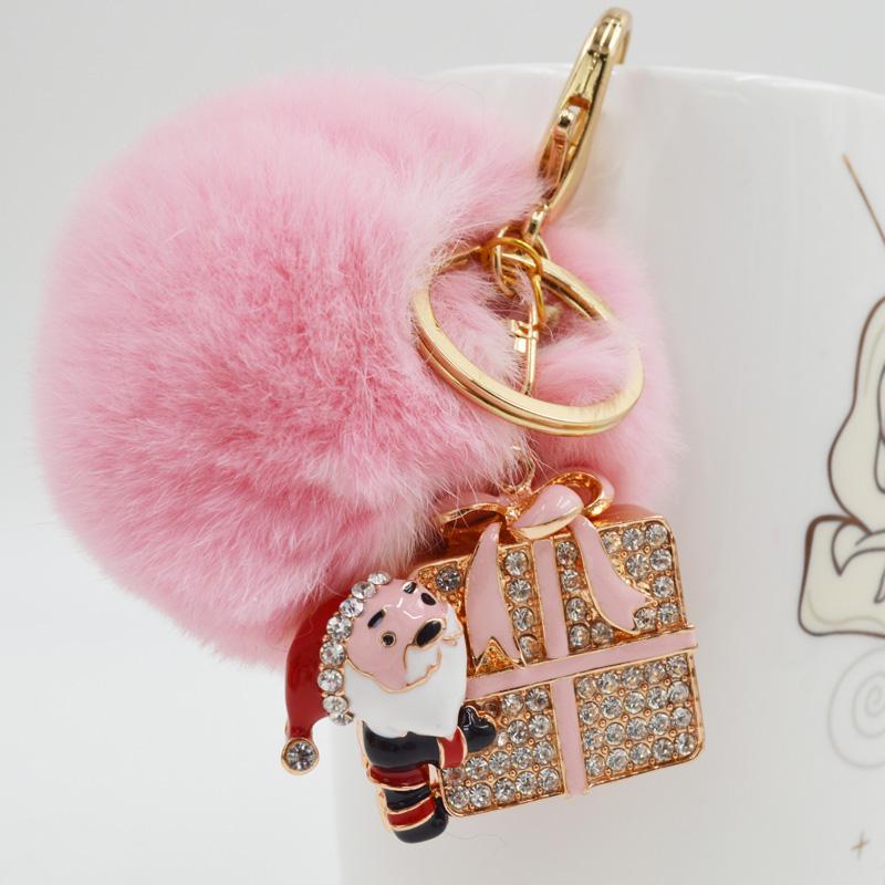 BF FUR Gold Wallet Pom Real Fur Santa Claus Keychain Charm Golf Cart Bag Pendant Fur Pom Pom Keychain Christmas Gifts KC-26(China (Mainland))