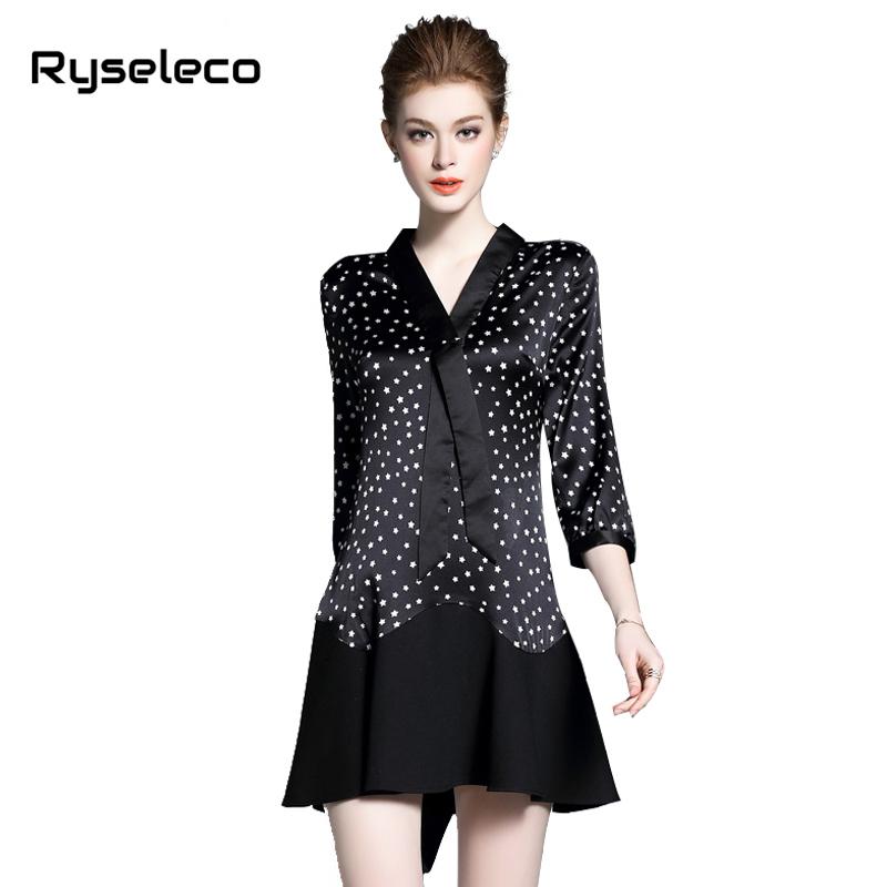 Ryseleco Women 2017 Spring Autumn Fashion Slim Elegant Stars Prints Patchwork 3/4 Sleeve Mini Short Dresses Work Wear Clothing(China (Mainland))