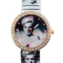 Luxury Women Wristwatch 2015 New Fashion Marilyn Monroe Rhinestone Quartz Watch Women Casual Watch Relogio Feminino