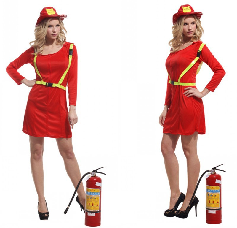 Women Adult Fireman Dress Up Female Halloween Truckman Costume Dress+Hat+Belt Party Performance Clothes Chorus Stage Clothes 18(China (Mainland))