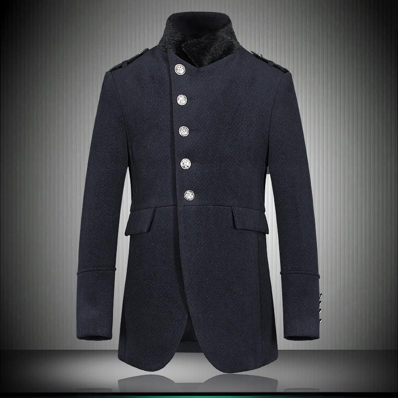 2015 men's brand new winter coat cashmere overcoat epaulette unique design men warm thick wool coat jacket(China (Mainland))