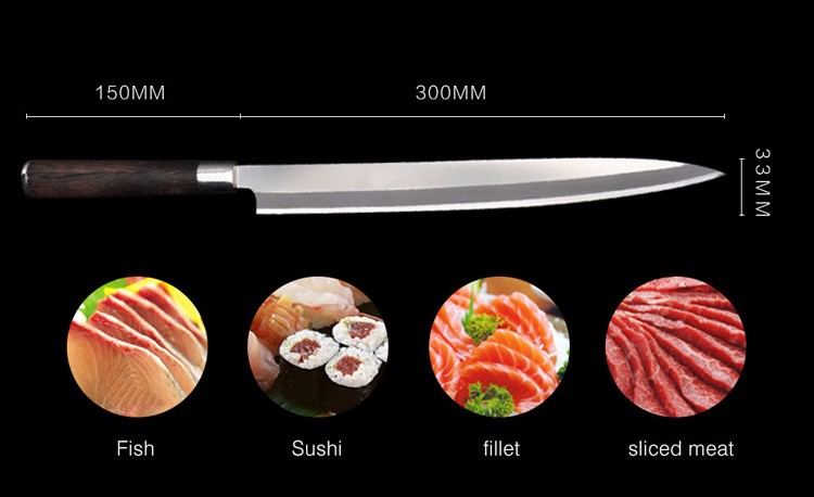 Buy Free Shipping LD stainless steel kitchen knife salmon sashimi raw fish fillet chef knife cooking knives Sashayed gift cheap