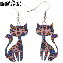 Newei Drop Cat Collar Dangle Earrings Acrylic Pattern New 2015 Charm Girl Woman Jewelry Accessories Fashion Earrings