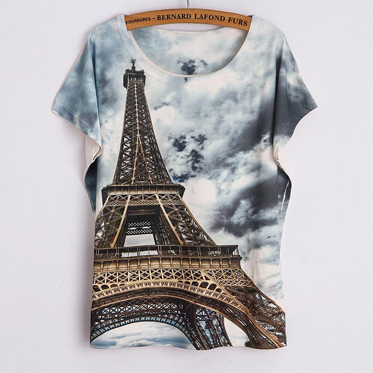 Fashion Women 2015 T Shirt Short Sleeve Eiffel Tower Print tshirts Women Tops T- Shirt Casual Patchwork Top Shirt Women(China (Mainland))