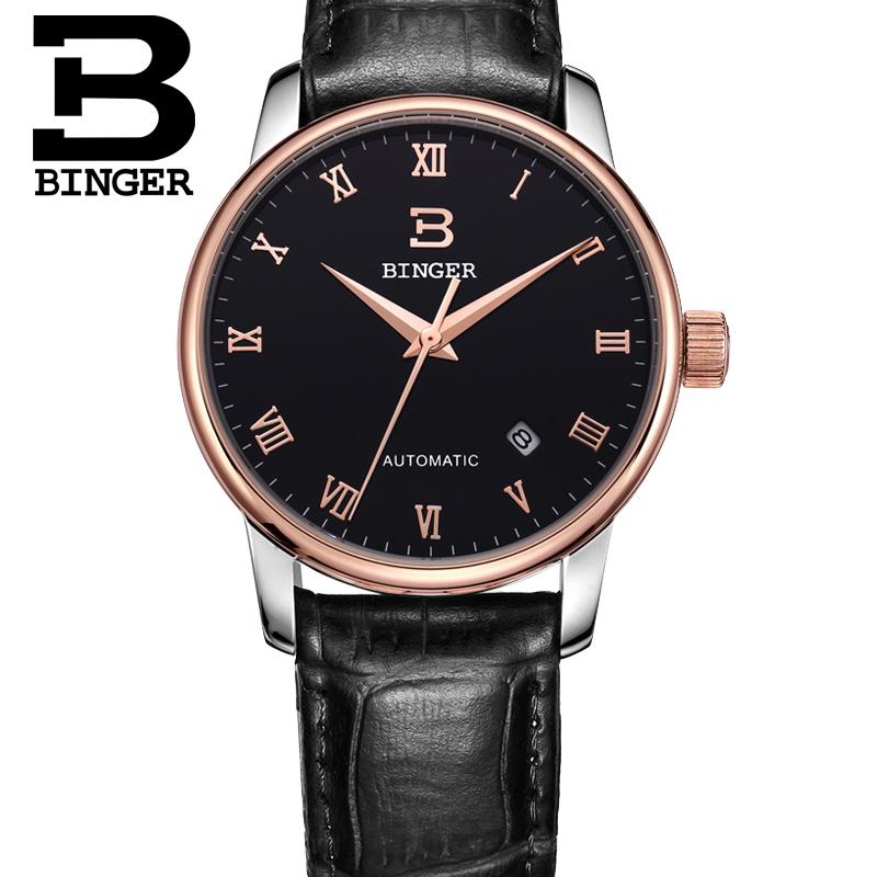 BINGER Switzerland watches men luxury brand automatic mechanical watches black mens watch Sally belt relogio masculino<br><br>Aliexpress