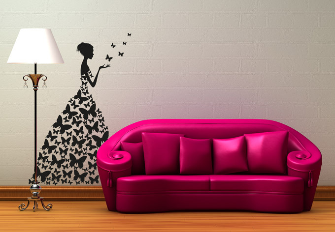 Special Creative Wall Stickers Butterfly Dress Beautiful