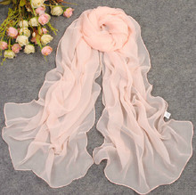 2015 solid color silk scarf chiffon plain women's design long scarf summer beach shawl cape(China (Mainland))