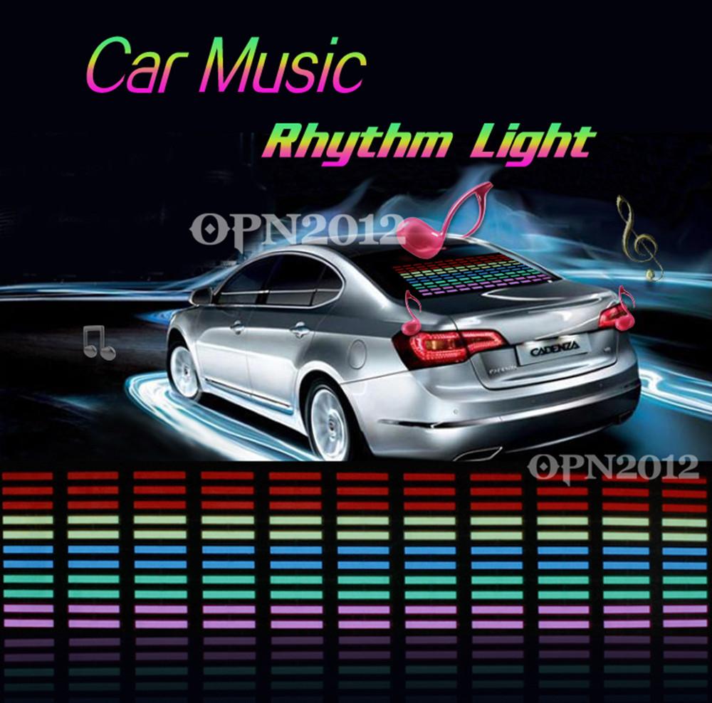 45x11cm Car Sticker Sound Activated Equalizer Music Rhythm LED Light Glow Flash Panel Multi Colour Light Flashing Lamp 2273(China (Mainland))