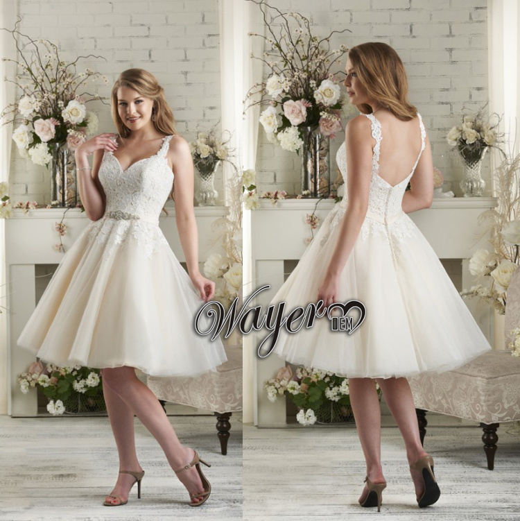 Popular short wedding dresses sexy low back appliques for Beaded low back wedding dress