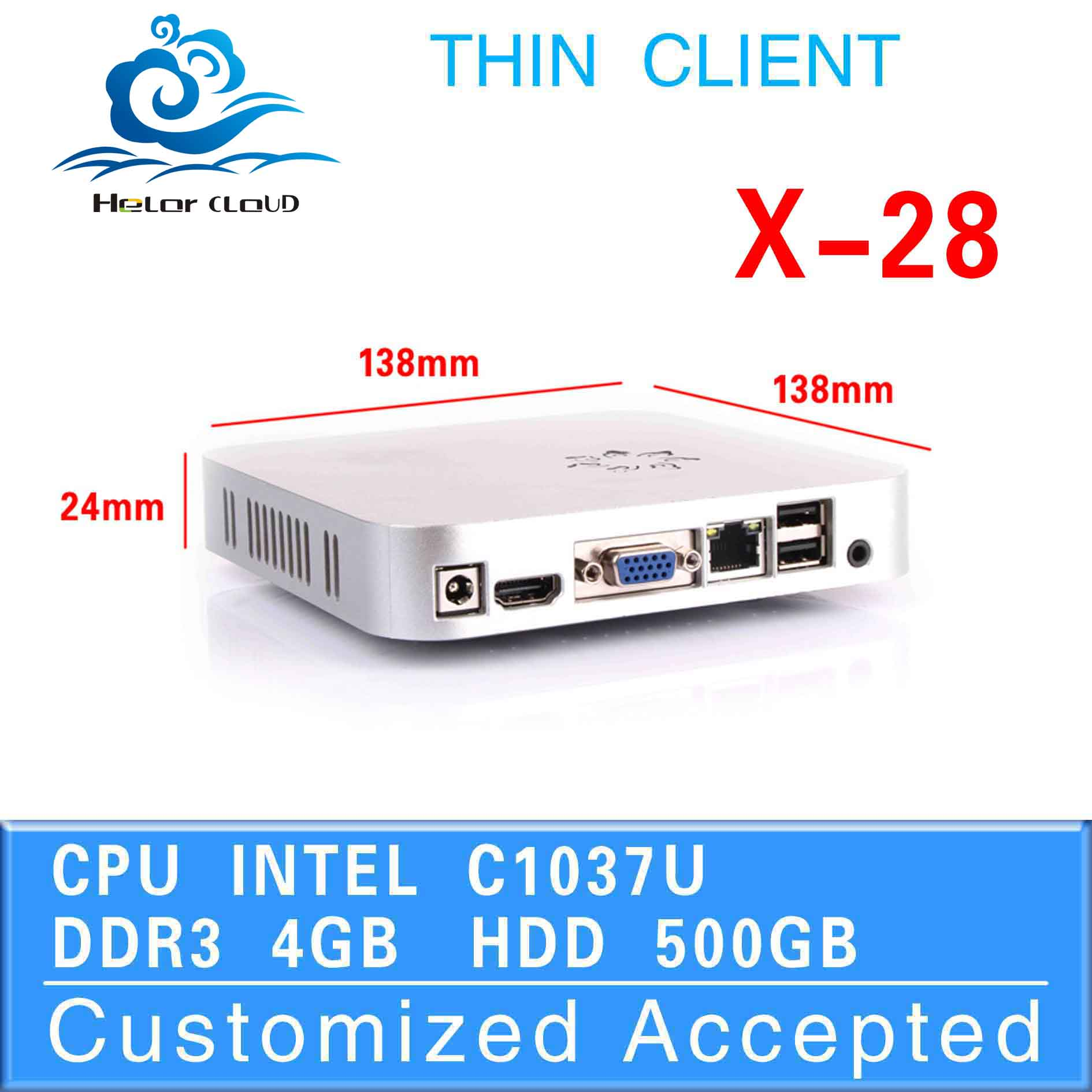 Hot sale! thin client pc share mini desktop computer hdmi x-28 mini pc linux support full screen movies 4g ram 500g ssd(China (Mainland))