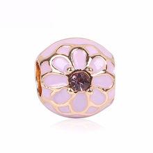 Abalorios de plata Couqcy oro rosa/oro Color amor familia colgante Clip dijes apto Pandora pulseras brazaletes regalo de joyería DIY(China)