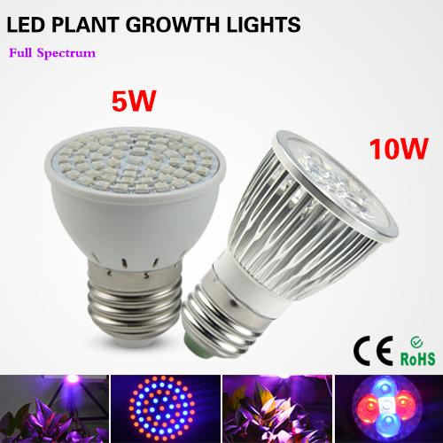 1Pcs E27 5W 10W LED Plant Grow lights lamp AC110V / 220V Full Spectrum Growth Bulb for Flower Hydroponics system Growing Box(China (Mainland))