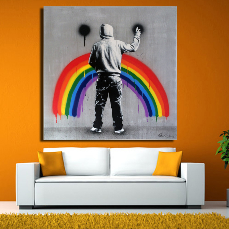 Banksy Art Sad Rainbow by Martin Whatson Wall Art Large Colorful Graffiti Street Artwork Holding a Sign Canvas Print Painting(China (Mainland))