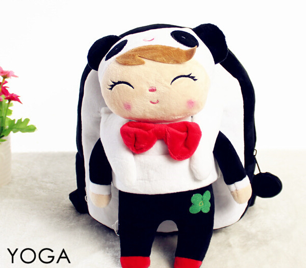 1PC 25cm sweet Angela metoo become smile panda plush doll backpacks outdoor shoulder bag Satchel girl toy gift of baby(China (Mainland))