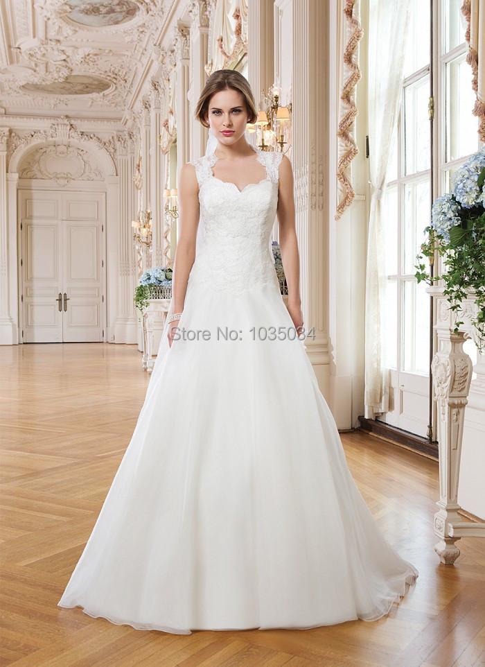 Hem A Lace Wedding Dress : Vintage a line wedding dress hem lace bridal gowns with queen anne