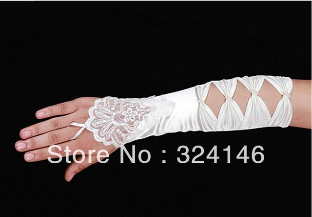 Free shipping  New Bridal gloves Wedding Gloves fingerless gloves beautiful begie gloves retail Wholesale
