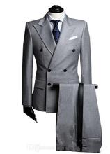 New/ Custom Fashion handsome Men's Gray double-breasted suits business affairs men's Three Piece Suit( jacket + pants + Vest )//