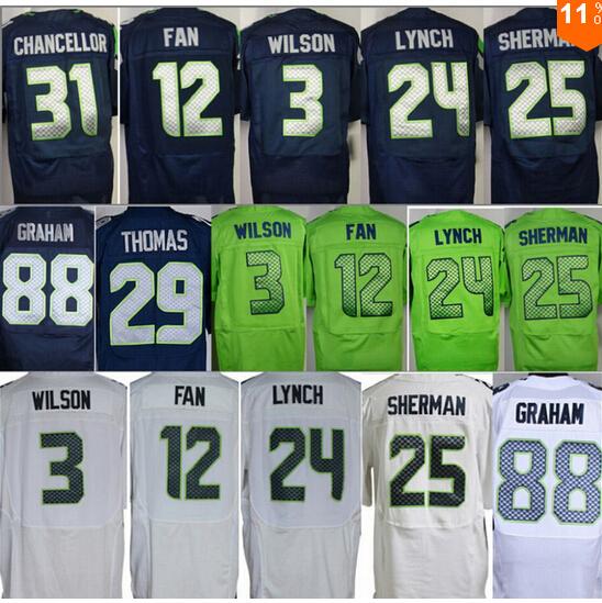 Гаджет  Russell Wilso n 24 Marshawn Lynch jersey Richard Sherman jersey 88 Jimmy Graham jersey 12 fan Elite jersey size small s - 4xl 60 None Спорт и развлечения