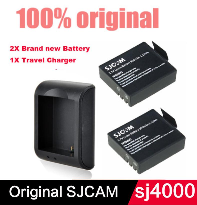 2PCS 900mAh 3 7V Lithium Digital Batteries SJCAM Original Battery SJ4000 SJ 4000 Charger For SJ4000