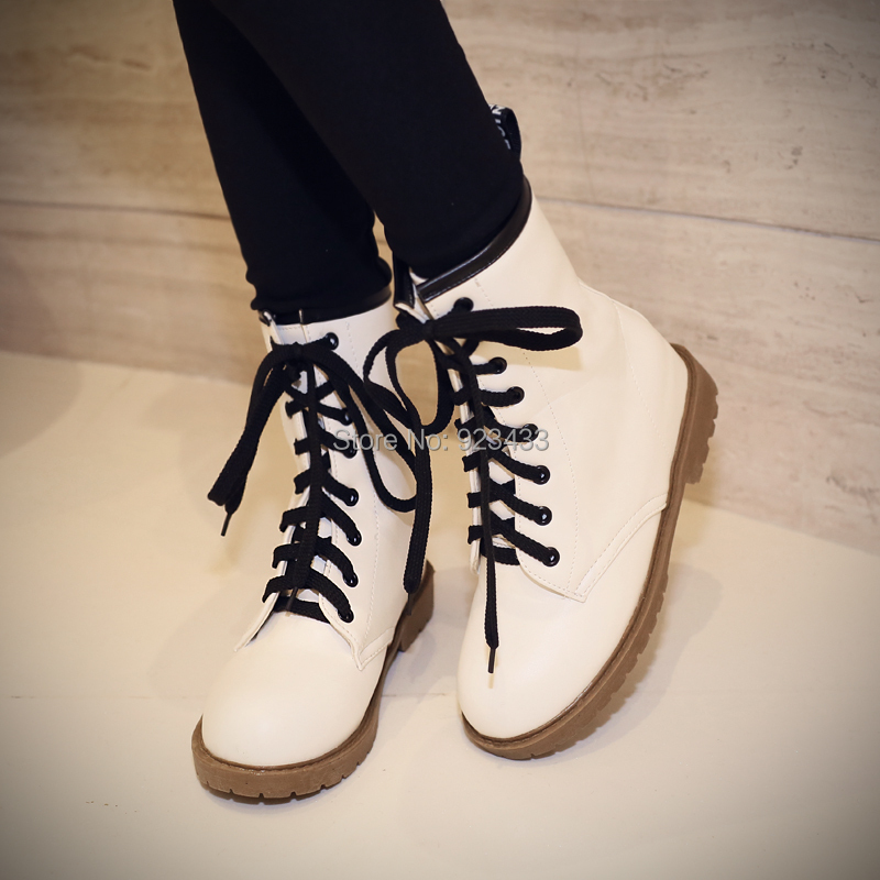 Spring autumn women's shoes Motorcycle Boots Martin Ankle boots flat platform new hot white wedges PU 2015 - Classic Women's store