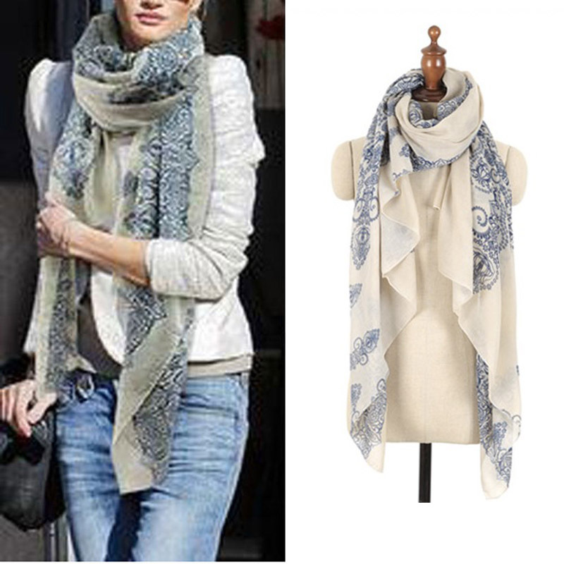 2015 160*70cm High quality Blue and White Porcelain Style Thin Section the Silk Floss Women Scarf Shawl(China (Mainland))